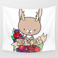 jackalope Wall Tapestries featuring Jackalope, EFF THIS SH*T by Space Bat designs
