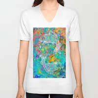 yin yang V-neck T-shirts featuring YIN & YANG by AlyZen Moonshadow