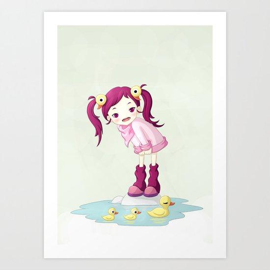 Puddle Ducks Art Print