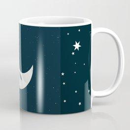 Little Green Man on Moon and Stars Coffee Mug
