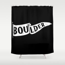 Boulder Colorado Pennant Flag B&W // University College Dorm Room Graphic Design Decor Black & White Shower Curtain