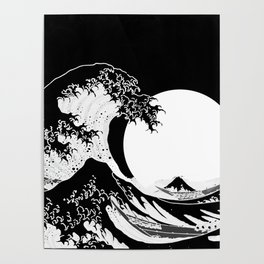 The Great Wave Black and White Inverse Poster