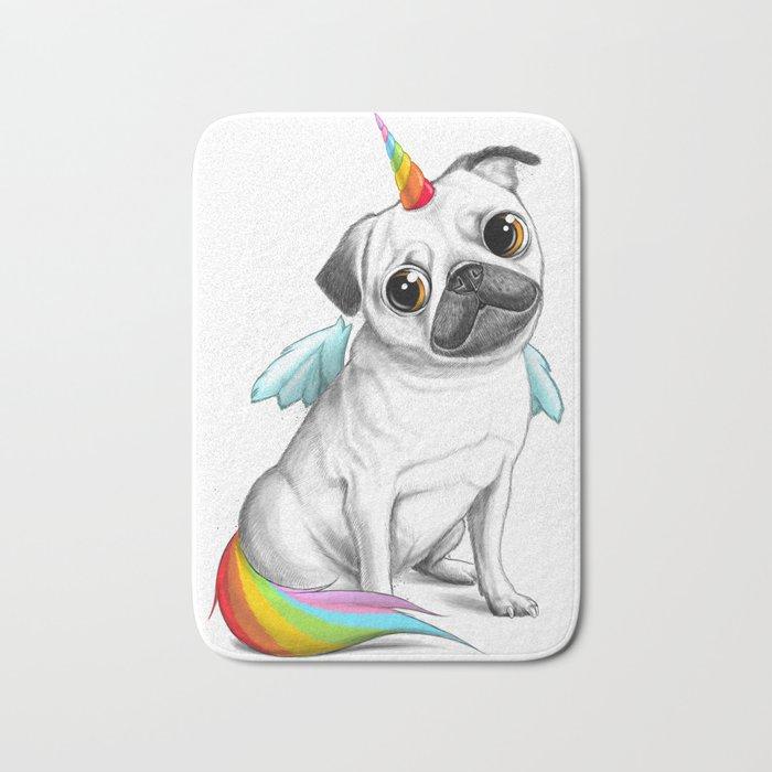 Pug unicorn Bath Mat