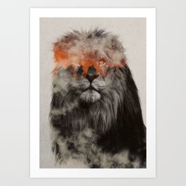 Lion In Fog Art Print