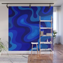 Blue Abstract Art Colorful Blue Shades Design Wall Mural