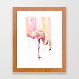 Pink Flamingo Watercolor Bird Animals Whimsical Animal Framed Art Print