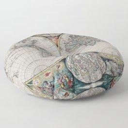 Atlas Maritimus - Vintage World Map Floor Pillow