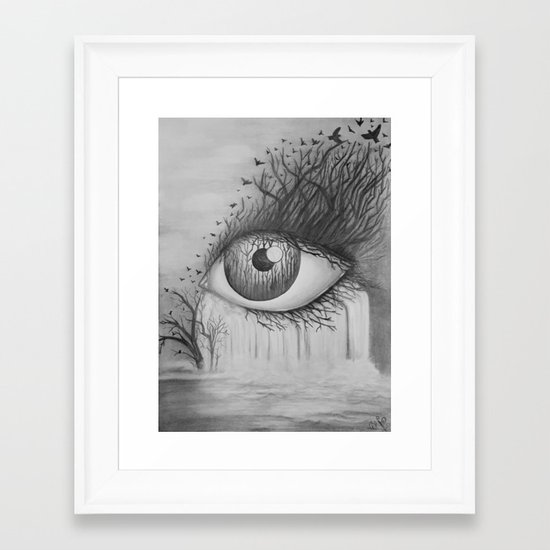 Eye With Waterfall Pencil Drawing Framed Art Print By Redchanteuse Society6