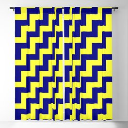 Electric Yellow and Navy Blue Steps RTL Blackout Curtain