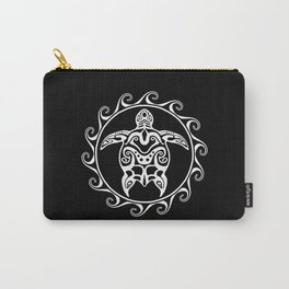 White Tribal Turtle Carry-All Pouch