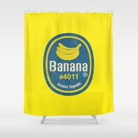 sticker Shower Curtains featuring Banana Sticker On Yellow by Karolis Butenas