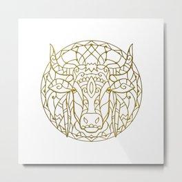 Bull Mandala Metal Print