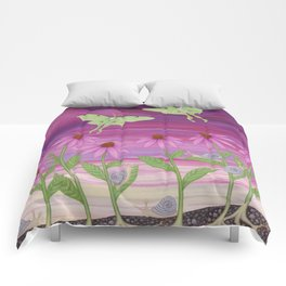 echinacea daydream with luna moths and snails Comforters