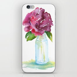 Rose in a Glass Vase Watercolor iPhone Skin