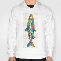 spawn Hoodies featuring Fish Art Print - Colorful Salmon - By Sharon Cummings by Sharon Cummings