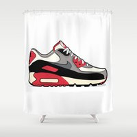 "nike Shower Curtains featuring NIKE Air Max 90 ""Infrared"" by Graphkicks"