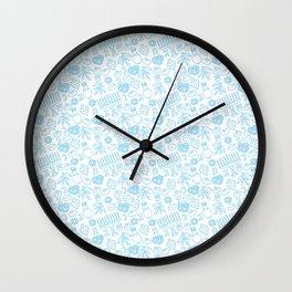 Simple Blue Hanukkah Seamless Pattern Wall Clock