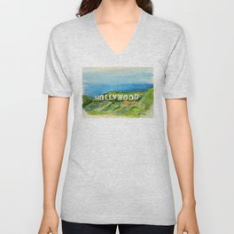 Hollywood Sign - An American Cultural Icon Unisex V-Neck