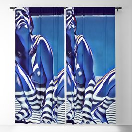 9118s-KMA_5209 Blue Nude Striped Figure Looking Down Abstract Fine Art Nude Blackout Curtain