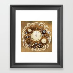 Steampunk Vintage Style Clocks and Gears Framed Art Print