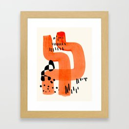 Fun Abstract Minimalist Mid Century Modern Orange Brush Strokes Watercolor Black Pattern Framed Art Print