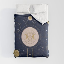 Magical Ilustration with two Moons Comforters