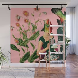 fish soul mate pink #collage Wall Mural