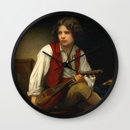 "William-Adolphe Bouguereau ""Italien à la mandoline (Italian with mandolin)"" Wall Clock"