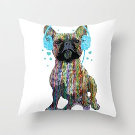 French Bulldog With Headphones Throw Pillow