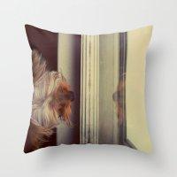 yorkie Throw Pillows featuring Yorkie Daydreaming by Jonora Fabrics