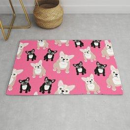 French Bulldog Puppies Pink Rug