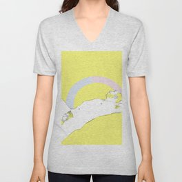 Nude male reclining against a yellow background with a rainbow graphic Unisex V-Neck