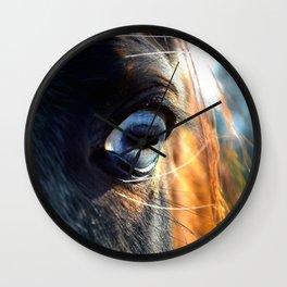 Horse Blue Watch Eye Wall Clock