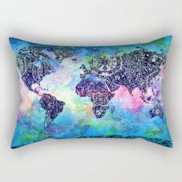 world map mandala watercolor Rectangular Pillow