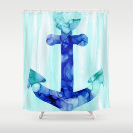 Blue Anchor: Original Alcohol Ink Painting Shower Curtain