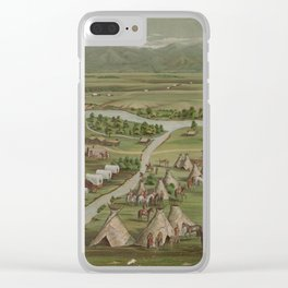 Vintage Pictorial Map of The Denver Settlement (1891) Clear iPhone Case