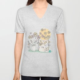 Pastel easter eggs and bunnys II Unisex V-Neck