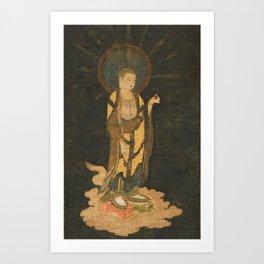 Welcoming Descent of Jizo 13th Century Japanese Scroll Art Print