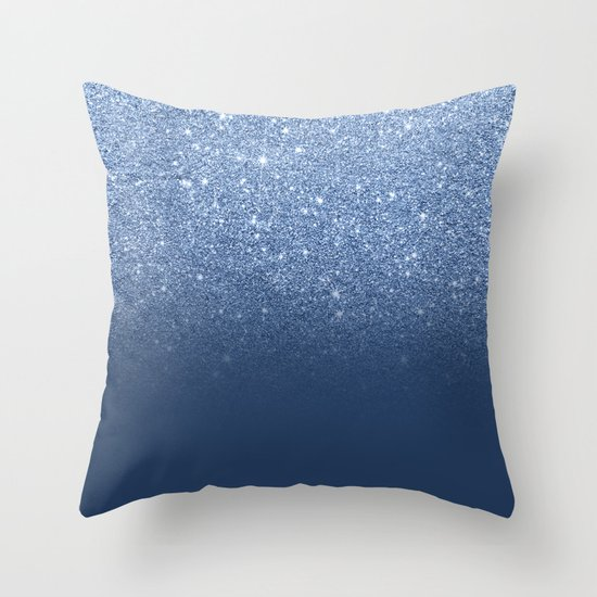 Modern trendy navy peony faux glitter ombre pattern Throw Pillow by Girly Trend Society6