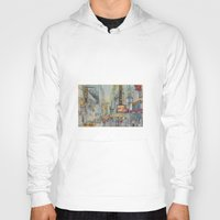 broadway Hoodies featuring Broadway,  New York - Five O'Clock Revised by Dorrie Rifkin Watercolors