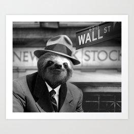 Sloth in Wall Street Art Print