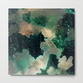 Gems : black, green, cream, brown, yellow, gold ink abstract painting Metal Print