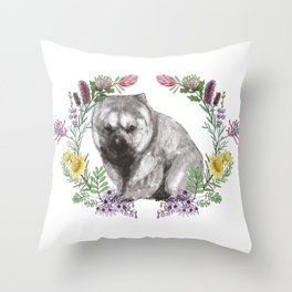 Wombat in Floral Wreath Throw Pillow