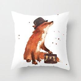 Downtown Fox Throw Pillow