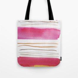 19   |181026 Lines & Color Block | Watercolor Abstract | Modern Watercolor Art Tote Bag