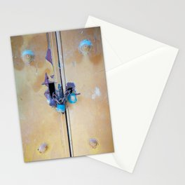 Photograph of old door with locks and padlock with color manipulation Stationery Cards