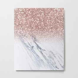 She Sparkles Rose Gold Marble Luxe Metal Print
