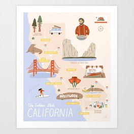 Illustrated California State Map Art Print