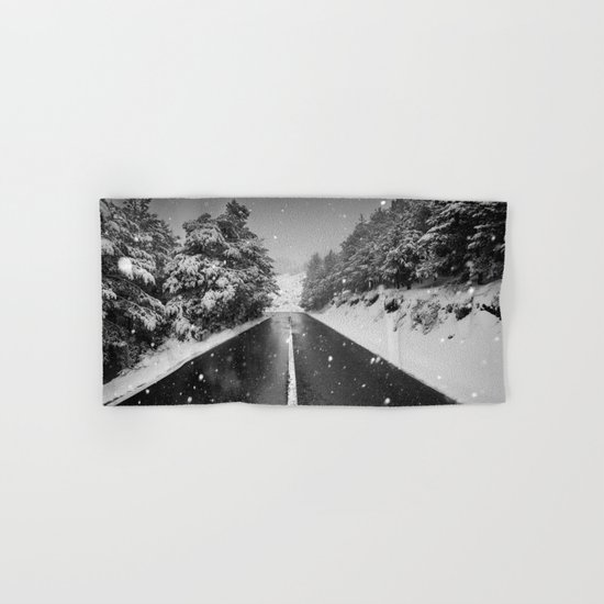 """The road"". Bw Hand & Bath Towel"