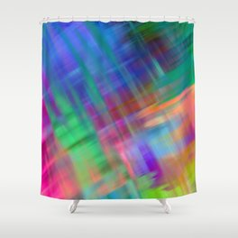 Abstract pink teal lilac green watercolor brushstrokes Shower Curtain